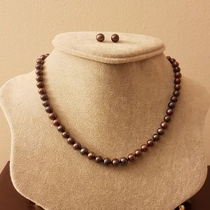 Brown Freshwater Pearls Necklace and Earrings